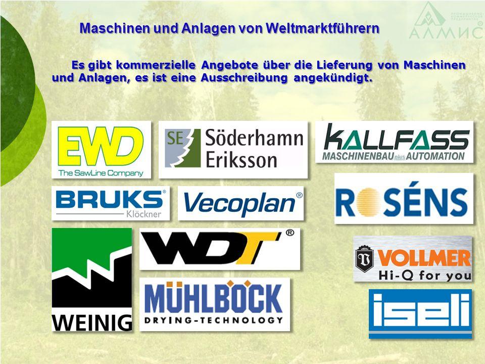 Maschinen und Anlagen von Weltmarktführern Es gibt kommerzielle Angebote über die Lieferung von Maschinen und Anlagen, es ist eine Ausschreibung angekündigt.