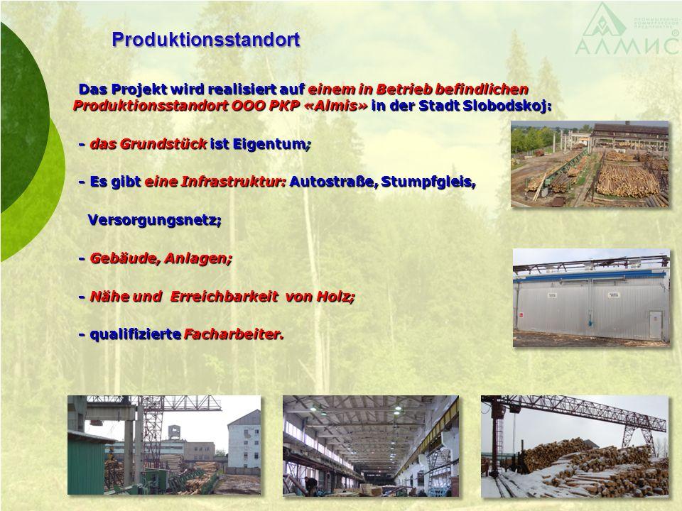 Produktionsstandort Das Projekt wird realisiert auf einem in Betrieb befindlichen Produktionsstandort ООО PКP «Almis» in der Stadt Slobodskoj: Das Pro