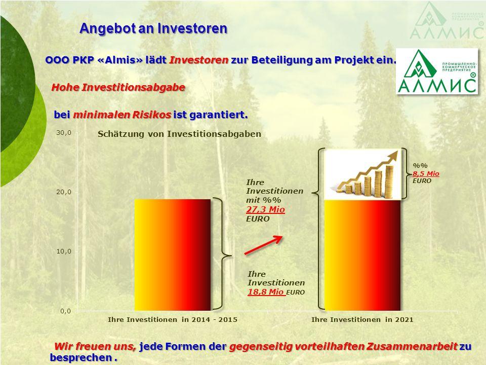 Angebot an Investoren ООО PКP «Almis» lädt Investoren zur Beteiligung am Projekt ein.. ООО PКP «Almis» lädt Investoren zur Beteiligung am Projekt ein.