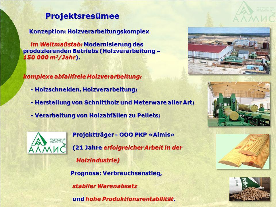 Projektsresümee Konzeption: Holzverarbeitungskomplex Konzeption: Holzverarbeitungskomplex im Weltmaßstab: Modernisierung des im Weltmaßstab: Modernisierung des produzierenden Betriebs (Holzverarbeitung – produzierenden Betriebs (Holzverarbeitung – 150 000 m 3 /Jahr).
