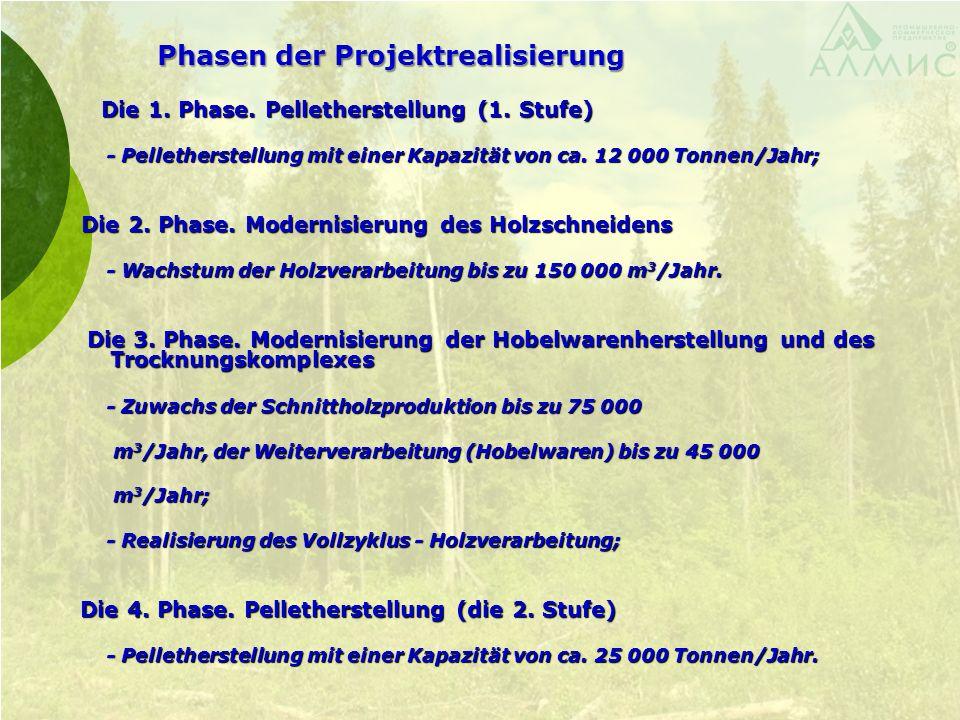 Phasen der Projektrealisierung Die 1. Phase. Pelletherstellung (1. Stufe) Die 1. Phase. Pelletherstellung (1. Stufe) - Pelletherstellung mit einer Kap