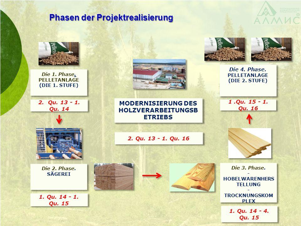Phasen der Projektrealisierung 2. Qu. 13 - 1. Qu. 16 2. Qu. 13 - 1. Qu. 14 MODERNISIERUNG DES HOLZVERARBEITUNGSB ETRIEBS Die 1. Phase. PELLETANLAGE (D