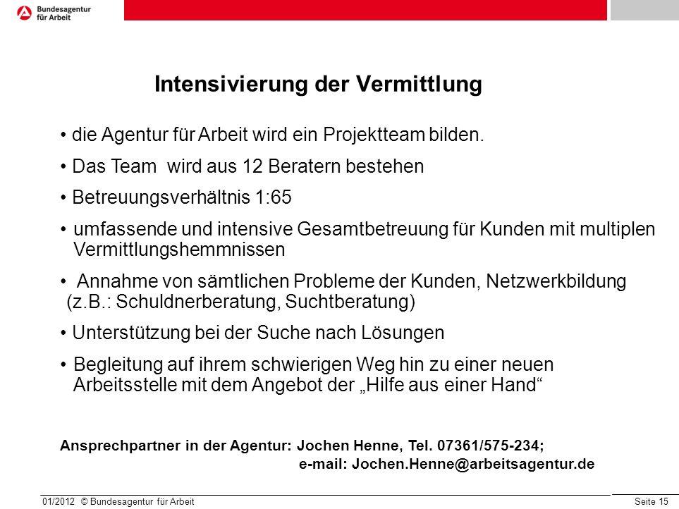 Seite 15 Intensivierung der Vermittlung 01/2012 © Bundesagentur für Arbeit die Agentur für Arbeit wird ein Projektteam bilden. Das Team wird aus 12 Be