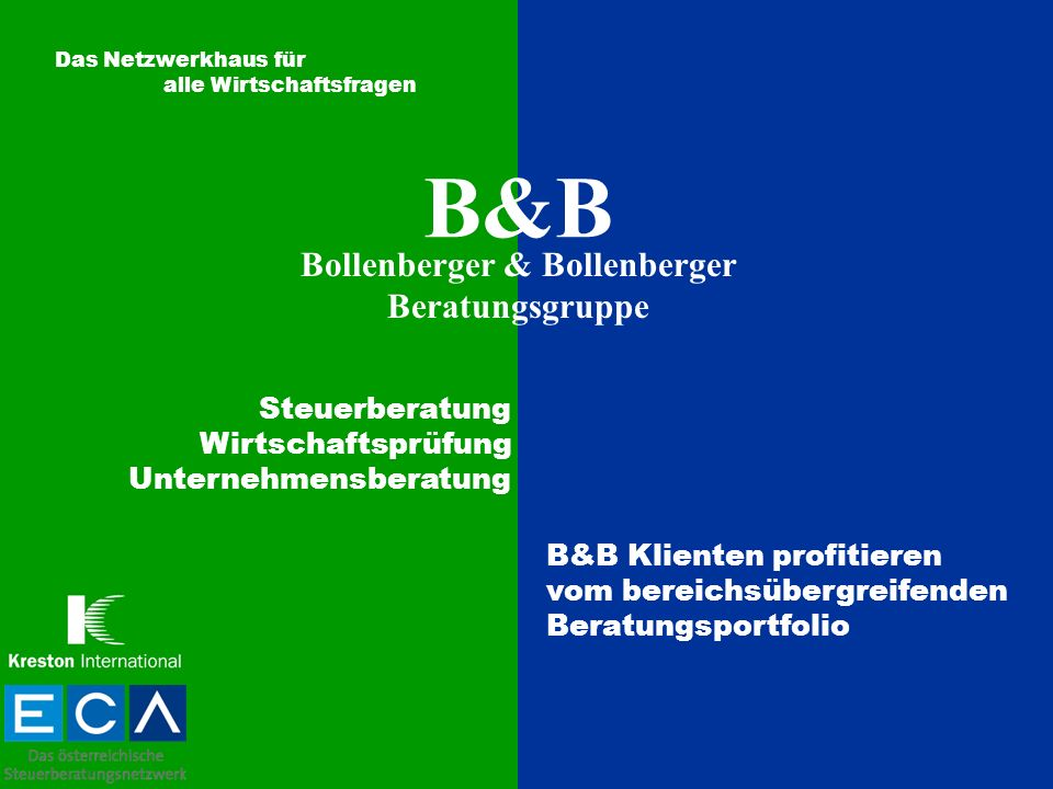 B&B Bollenberger & Bollenberger Beratungsgruppe Das Netzwerkhaus für alle Wirtschaftsfragen Steuerberatung Wirtschaftsprüfung Unternehmensberatung B&B