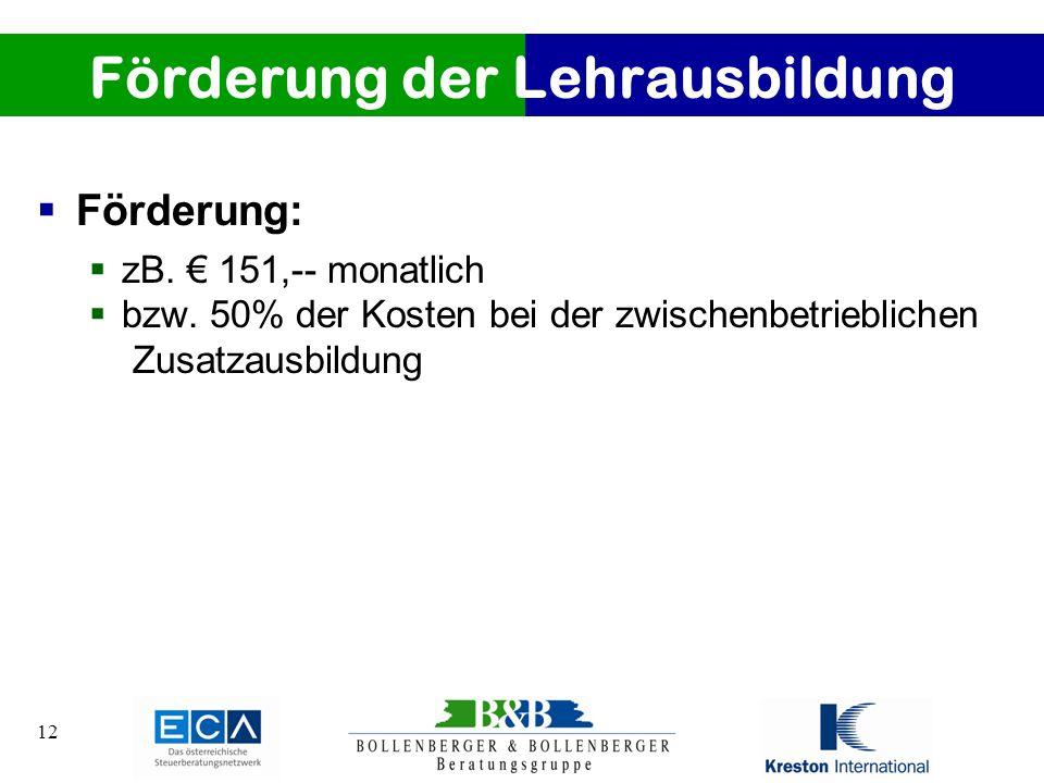 12 Förderung der Lehrausbildung Förderung: zB. 151,-- monatlich bzw. 50% der Kosten bei der zwischenbetrieblichen Zusatzausbildung