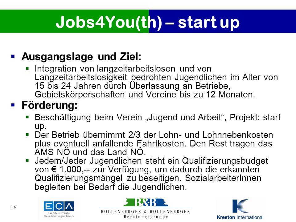 16 Jobs4You(th) – start up Ausgangslage und Ziel: Integration von langzeitarbeitslosen und von Langzeitarbeitslosigkeit bedrohten Jugendlichen im Alte