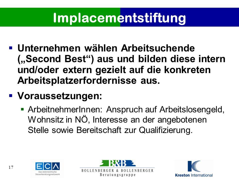 17 Implacementstiftung Unternehmen wählen Arbeitsuchende (Second Best) aus und bilden diese intern und/oder extern gezielt auf die konkreten Arbeitspl