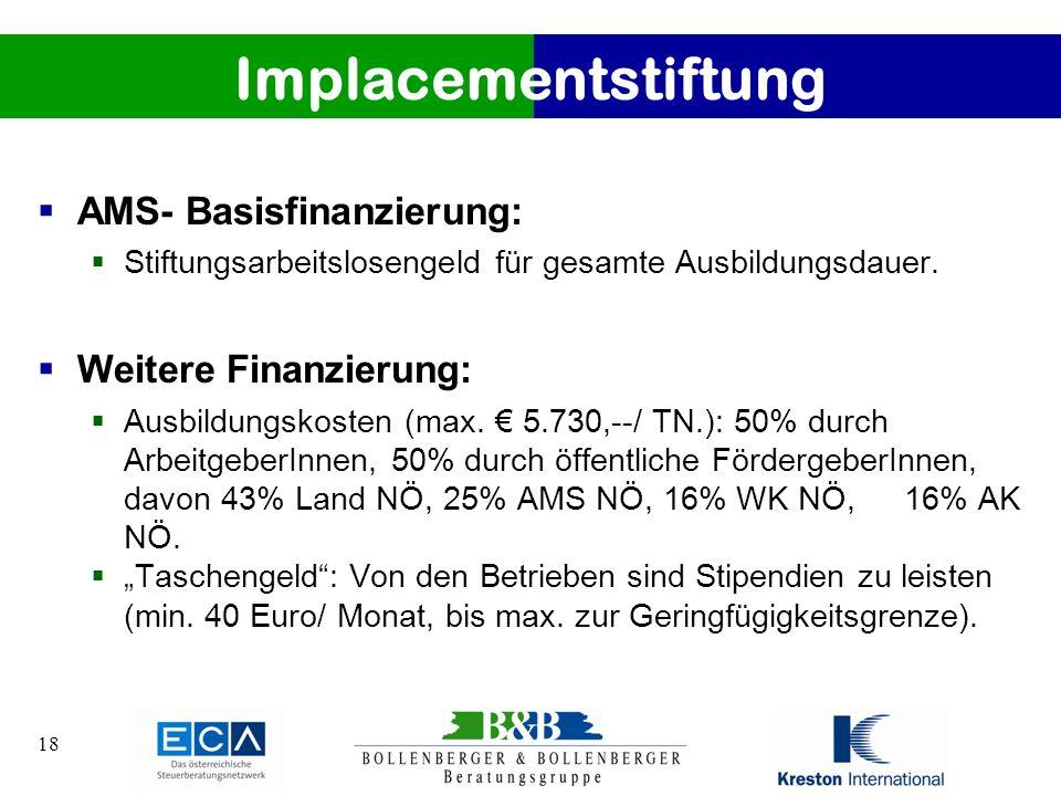 18 Implacementstiftung AMS- Basisfinanzierung: Stiftungsarbeitslosengeld für gesamte Ausbildungsdauer. Weitere Finanzierung: Ausbildungskosten (max. 5