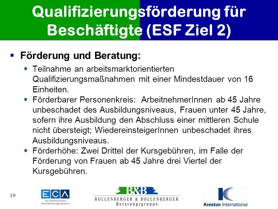 19 Qualifizierungsförderung für Beschäftigte (ESF Ziel 2) Förderung und Beratung: Teilnahme an arbeitsmarktorientierten Qualifizierungsmaßnahmen mit e