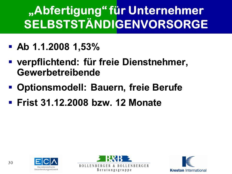 30 Abfertigung für Unternehmer SELBSTSTÄNDIGENVORSORGE Ab 1.1.2008 1,53% verpflichtend: für freie Dienstnehmer, Gewerbetreibende Optionsmodell: Bauern