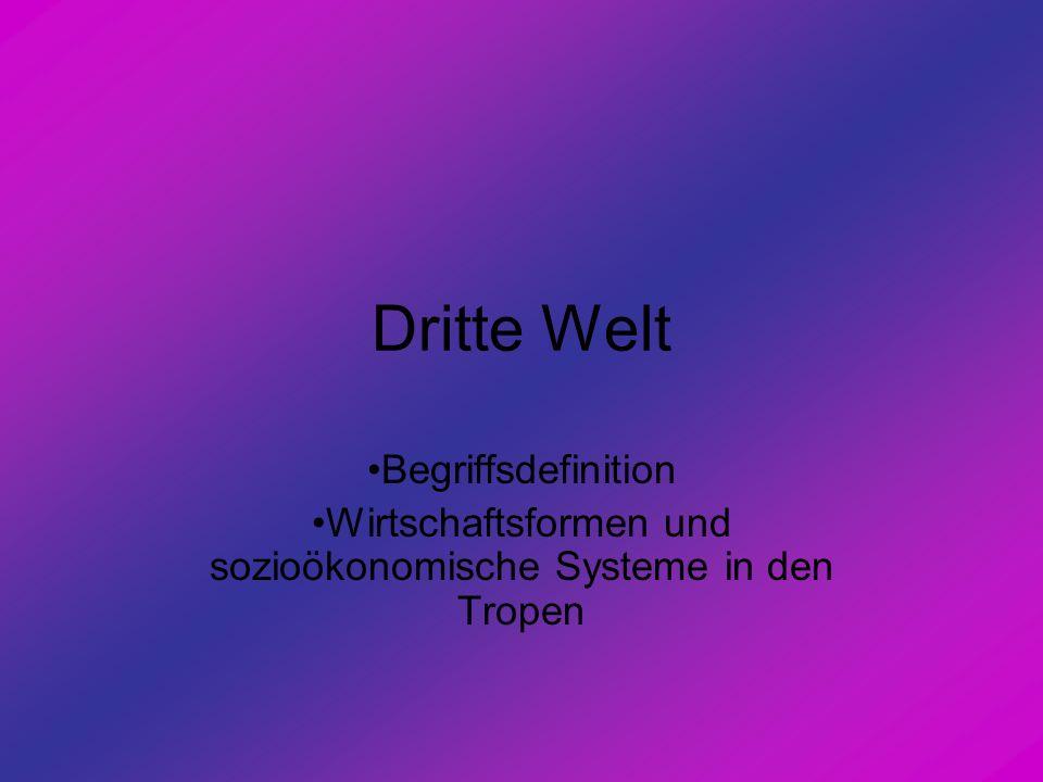 Dritte Welt Begriffsdefinition Wirtschaftsformen und sozioökonomische Systeme in den Tropen