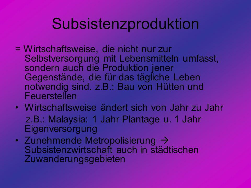 Subsistenzproduktion = Wirtschaftsweise, die nicht nur zur Selbstversorgung mit Lebensmitteln umfasst, sondern auch die Produktion jener Gegenstände,
