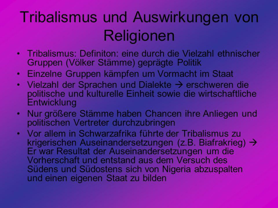 Tribalismus und Auswirkungen von Religionen Tribalismus: Definiton: eine durch die Vielzahl ethnischer Gruppen (Völker Stämme) geprägte Politik Einzel
