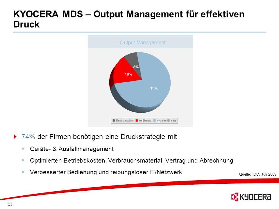 23 KYOCERA MDS – Output Management für effektiven Druck 74% der Firmen benötigen eine Druckstrategie mit Geräte- & Ausfallmanagement Optimierten Betri