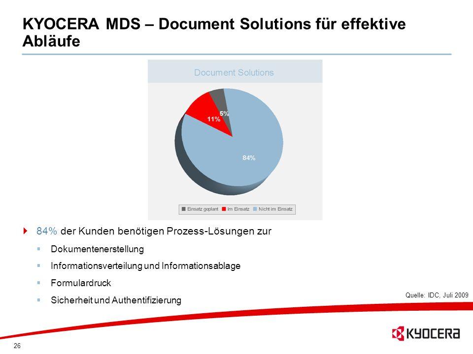 26 KYOCERA MDS – Document Solutions für effektive Abläufe 84% der Kunden benötigen Prozess-Lösungen zur Dokumentenerstellung Informationsverteilung un