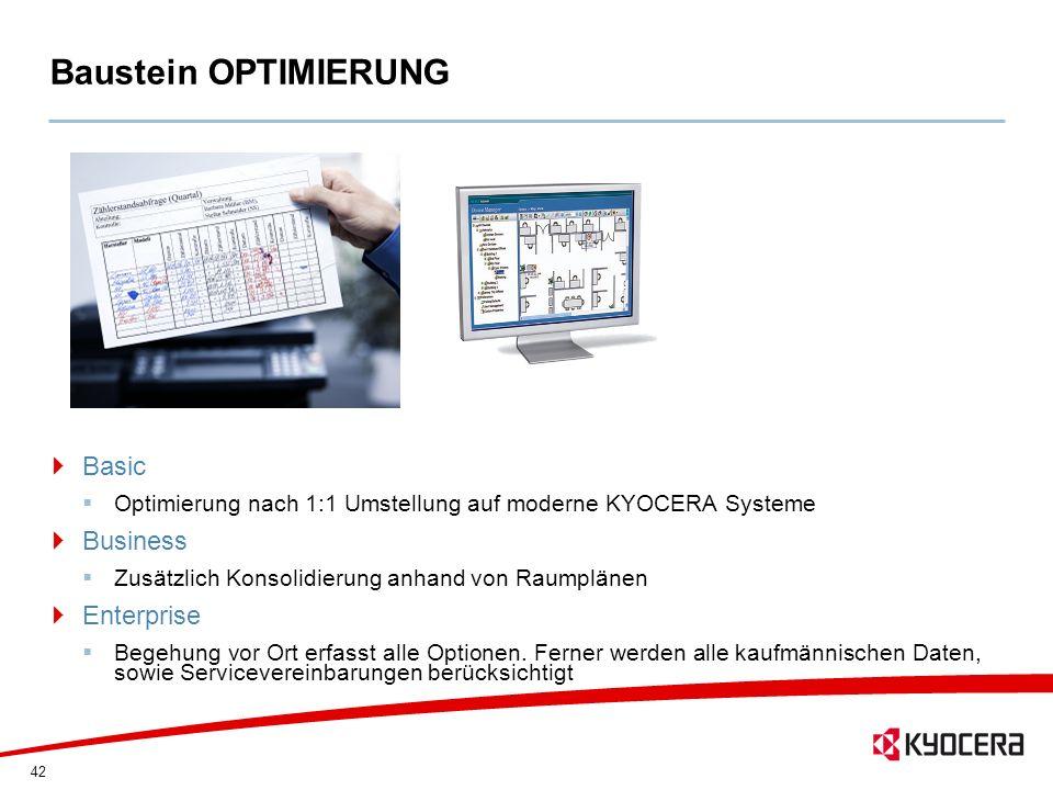 42 Baustein OPTIMIERUNG Basic Optimierung nach 1:1 Umstellung auf moderne KYOCERA Systeme Business Zusätzlich Konsolidierung anhand von Raumplänen Ent