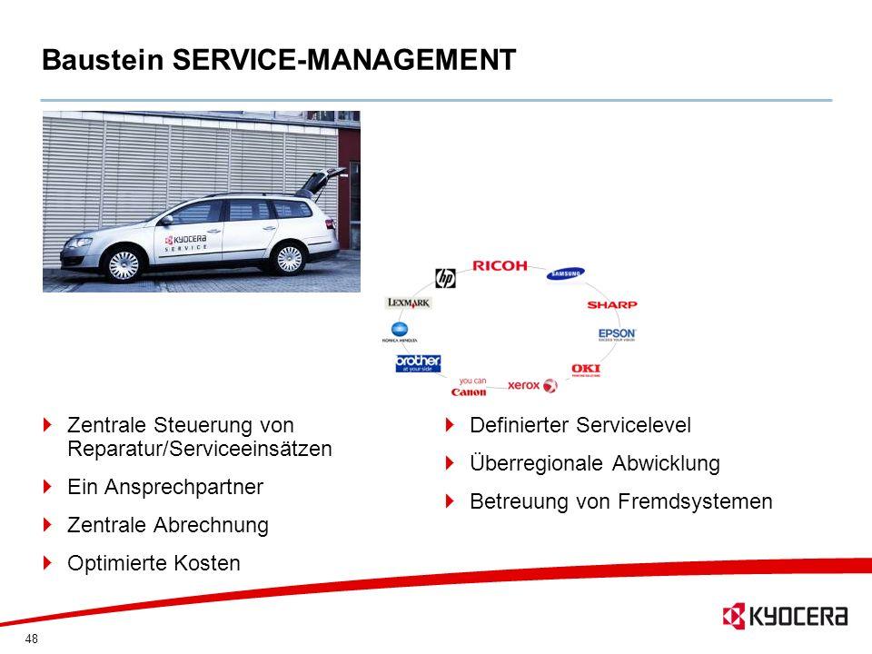48 Baustein SERVICE-MANAGEMENT Zentrale Steuerung von Reparatur/Serviceeinsätzen Ein Ansprechpartner Zentrale Abrechnung Optimierte Kosten Definierter
