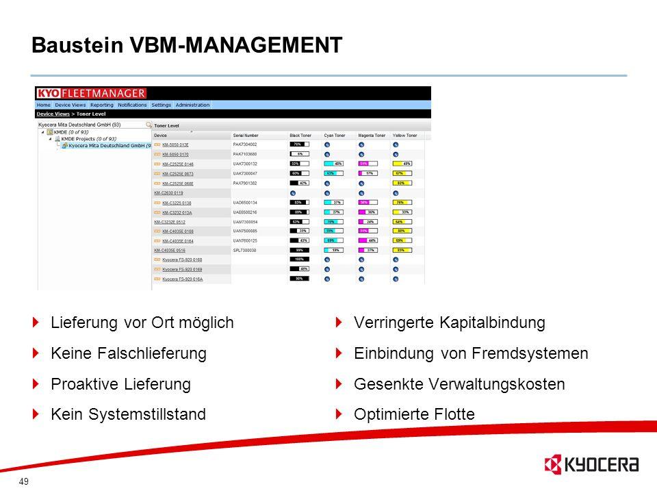 49 Baustein VBM-MANAGEMENT Lieferung vor Ort möglich Keine Falschlieferung Proaktive Lieferung Kein Systemstillstand Verringerte Kapitalbindung Einbin