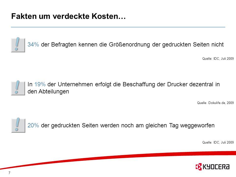 7 Fakten um verdeckte Kosten… 34% der Befragten kennen die Größenordnung der gedruckten Seiten nicht Quelle: IDC, Juli 2009 20% der gedruckten Seiten