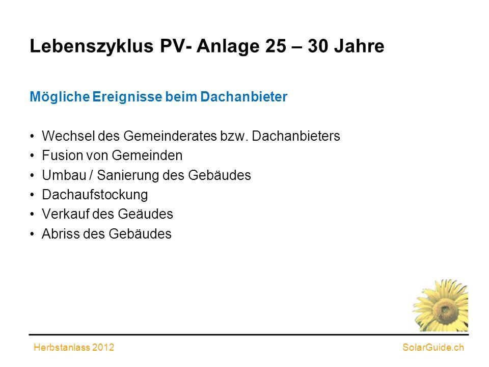 Lebenszyklus PV- Anlage 25 – 30 Jahre Mögliche Ereignisse beim Dachanbieter Wechsel des Gemeinderates bzw. Dachanbieters Fusion von Gemeinden Umbau /