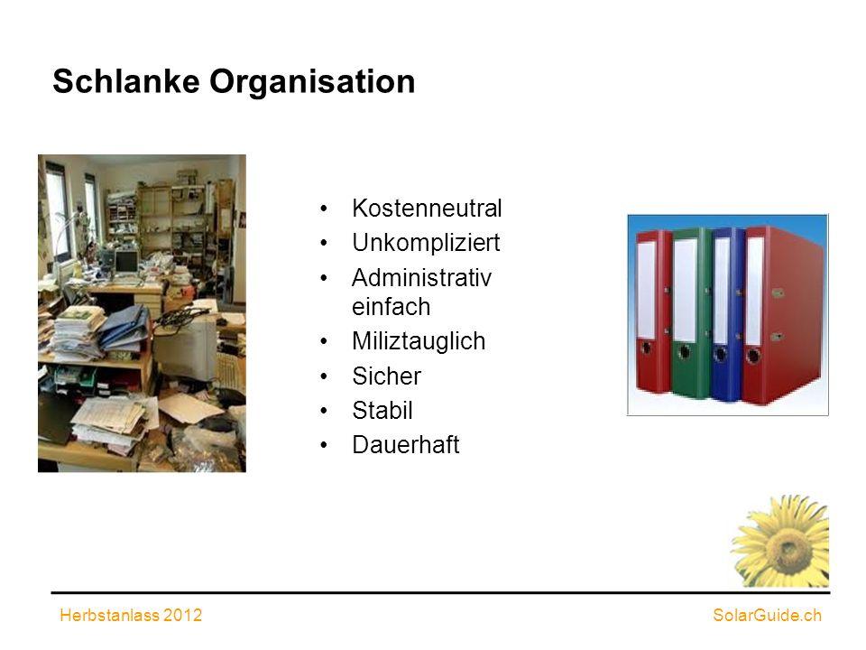 Schlanke Organisation Kostenneutral Unkompliziert Administrativ einfach Miliztauglich Sicher Stabil Dauerhaft Herbstanlass 2012SolarGuide.ch