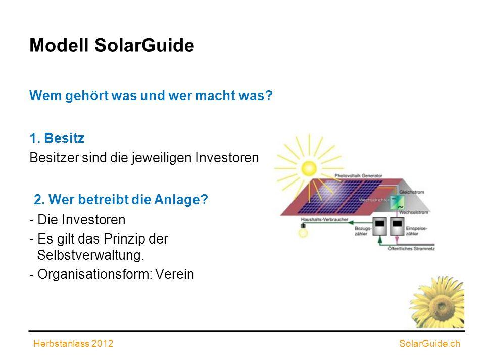 Modell SolarGuide Wem gehört was und wer macht was? 1. Besitz Besitzer sind die jeweiligen Investoren 2. Wer betreibt die Anlage? - Die Investoren - E