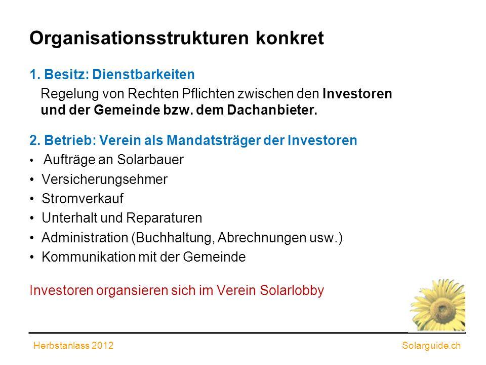 Organisationsstrukturen konkret 1. Besitz: Dienstbarkeiten Regelung von Rechten Pflichten zwischen den Investoren und der Gemeinde bzw. dem Dachanbiet