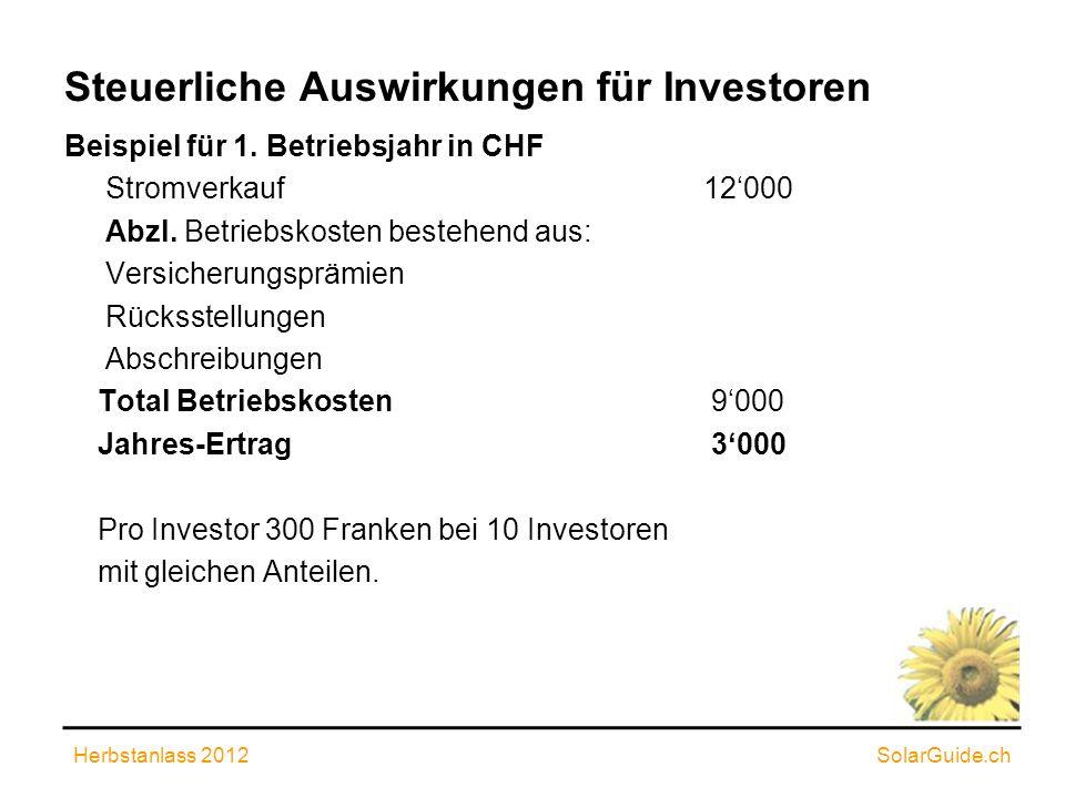 Steuerliche Auswirkungen für Investoren Beispiel für 1. Betriebsjahr in CHF Stromverkauf12000 Abzl. Betriebskosten bestehend aus: Versicherungsprämien