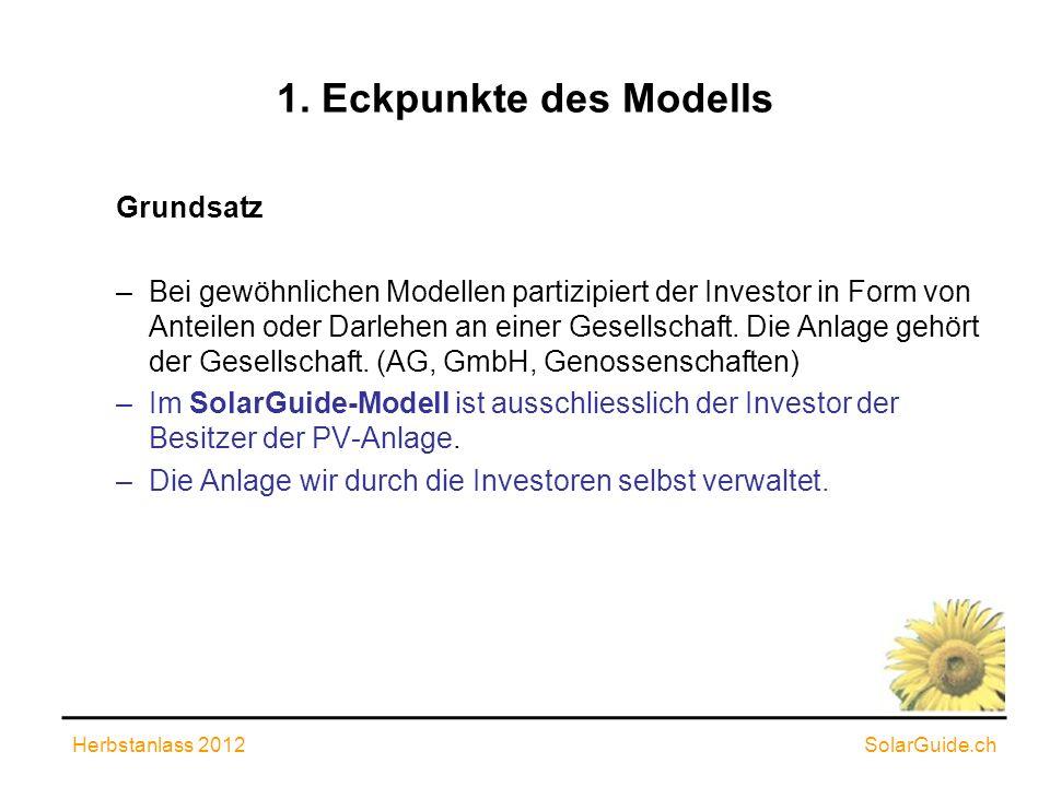 1. Eckpunkte des Modells Grundsatz –Bei gewöhnlichen Modellen partizipiert der Investor in Form von Anteilen oder Darlehen an einer Gesellschaft. Die