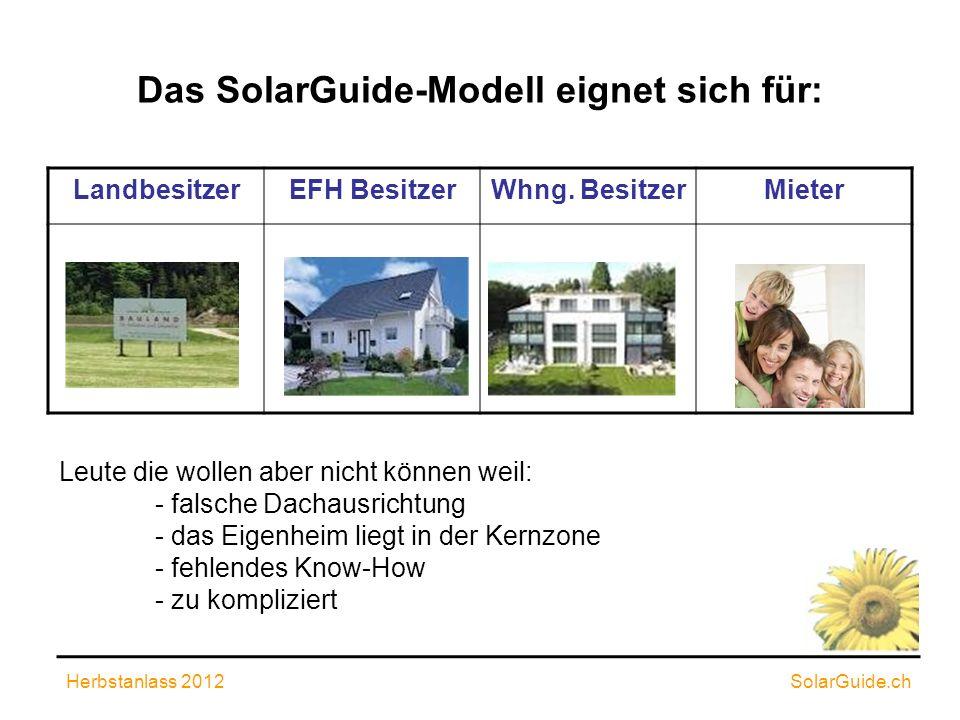 Anlagen nach dem SolarGuide-Modell Endingen 25.2 kWp in Betrieb seit 2010 Lengnau 99.08 kWp in Betrieb seit 2012 Schneisingen 57 kWp in Betrieb seit 2012 Weitere 4 Aargauer Gemeinden sind in der Planungsphase Herbstanlass 2012 SolarGuide.ch