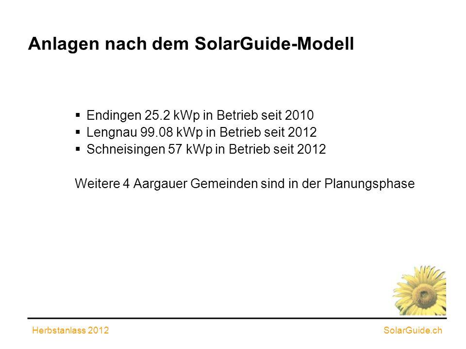 Anlagen nach dem SolarGuide-Modell Endingen 25.2 kWp in Betrieb seit 2010 Lengnau 99.08 kWp in Betrieb seit 2012 Schneisingen 57 kWp in Betrieb seit 2