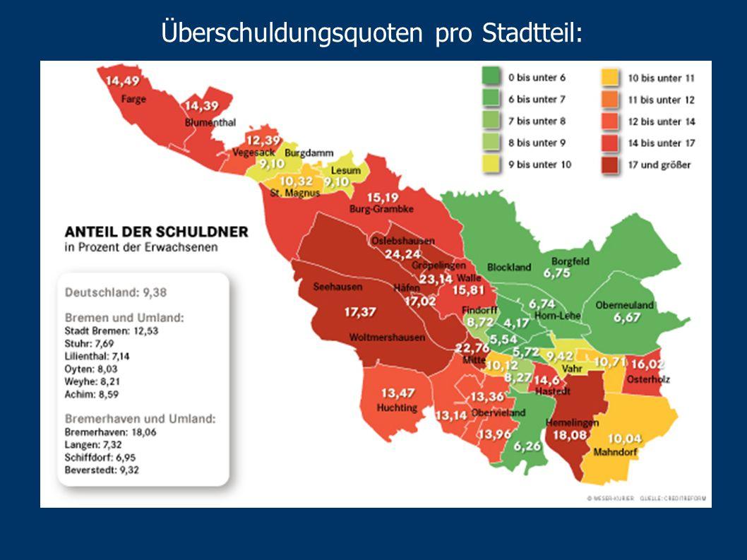 Überschuldungsquoten pro Stadtteil: