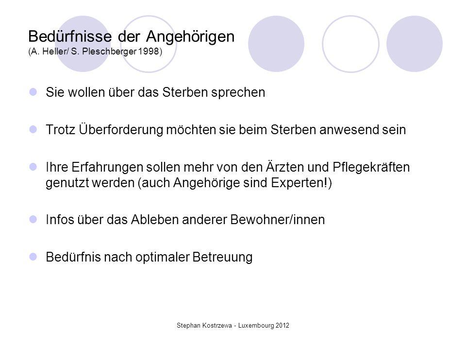 Bedürfnisse der Angehörigen (A. Heller/ S. Pleschberger 1998) Sie wollen über das Sterben sprechen Trotz Überforderung möchten sie beim Sterben anwese