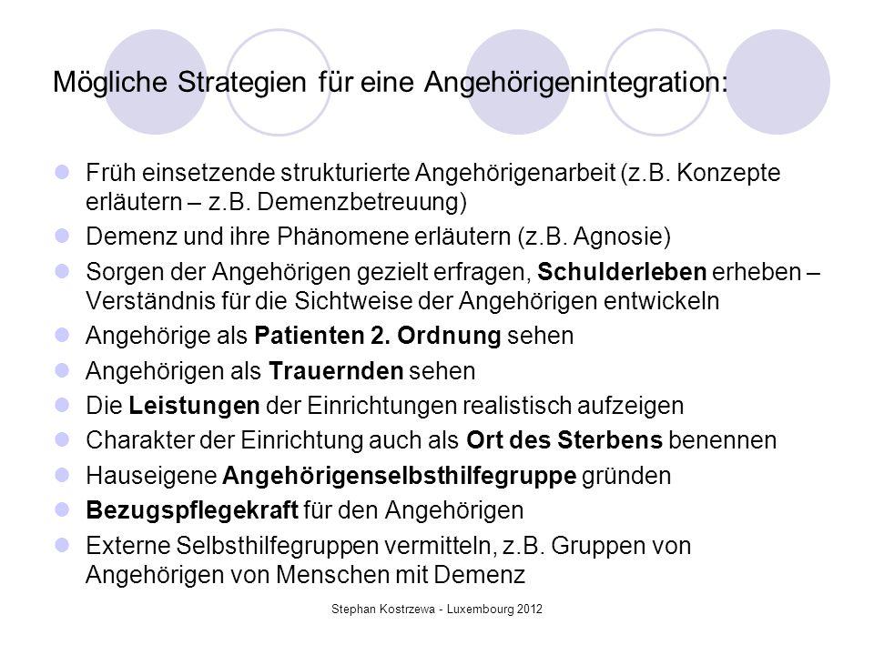 Mögliche Strategien für eine Angehörigenintegration: Früh einsetzende strukturierte Angehörigenarbeit (z.B. Konzepte erläutern – z.B. Demenzbetreuung)