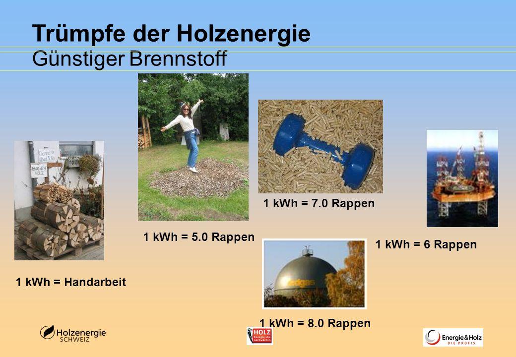 Trümpfe der Holzenergie Günstiger Brennstoff 1 kWh = 7.0 Rappen 1 kWh = 5.0 Rappen 1 kWh = Handarbeit 1 kWh = 6 Rappen 1 kWh = 8.0 Rappen