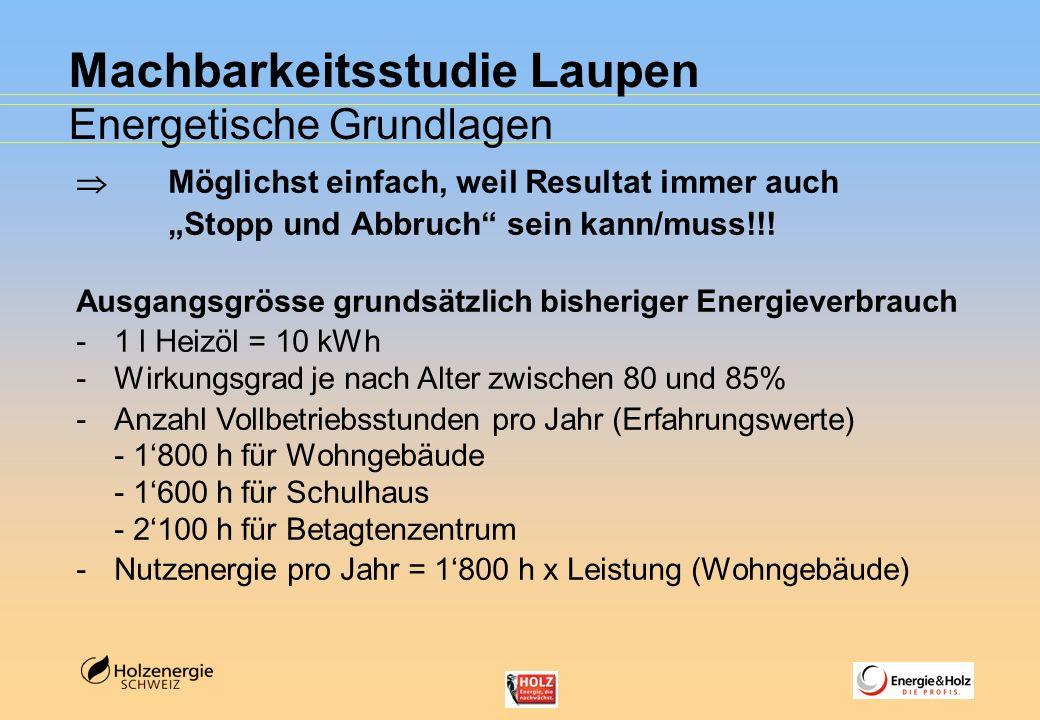 Machbarkeitsstudie Laupen Energetische Grundlagen Möglichst einfach, weil Resultat immer auch Stopp und Abbruch sein kann/muss!!! Ausgangsgrösse grund