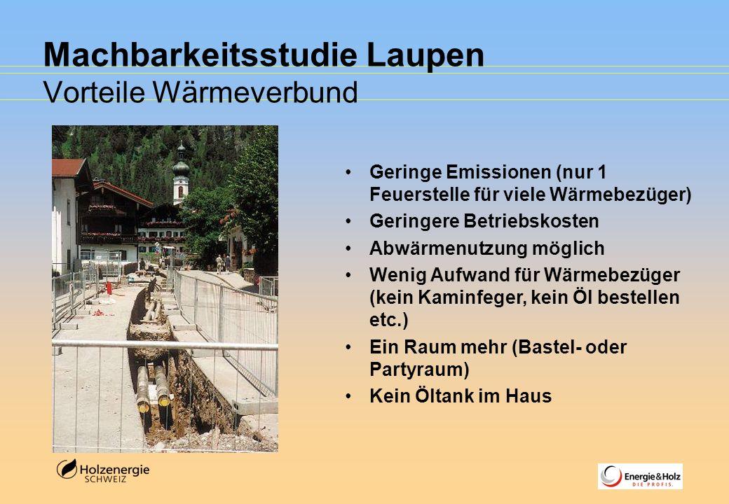 Machbarkeitsstudie Laupen Vorteile Wärmeverbund Geringe Emissionen (nur 1 Feuerstelle für viele Wärmebezüger) Geringere Betriebskosten Abwärmenutzung