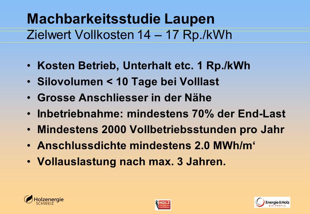 Machbarkeitsstudie Laupen Zielwert Vollkosten 14 – 17 Rp./kWh Kosten Betrieb, Unterhalt etc. 1 Rp./kWh Silovolumen < 10 Tage bei Volllast Grosse Ansch