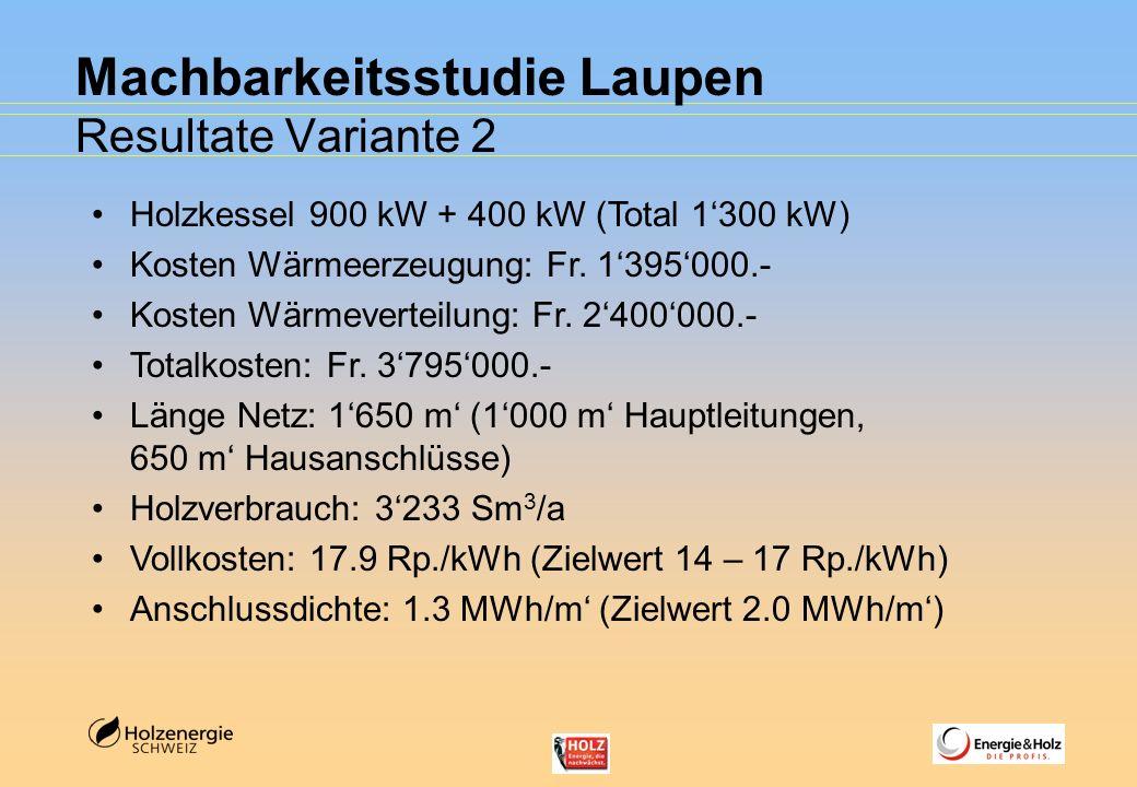 Machbarkeitsstudie Laupen Resultate Variante 2 Holzkessel 900 kW + 400 kW (Total 1300 kW) Kosten Wärmeerzeugung: Fr. 1395000.- Kosten Wärmeverteilung:
