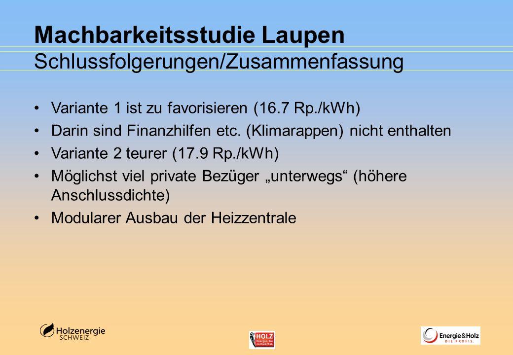 Machbarkeitsstudie Laupen Schlussfolgerungen/Zusammenfassung Variante 1 ist zu favorisieren (16.7 Rp./kWh) Darin sind Finanzhilfen etc. (Klimarappen)