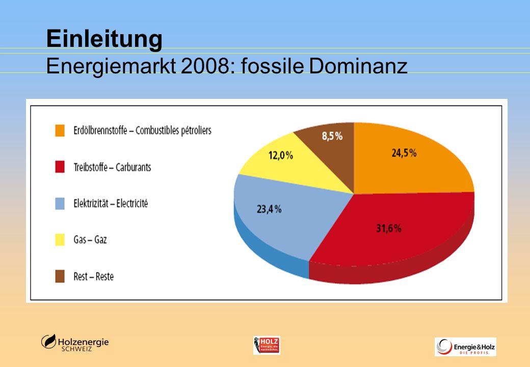 Einleitung Energiemarkt 2008 - der Rest (8,5%) (Sonne, Biogas, Umweltwärme) Pellets
