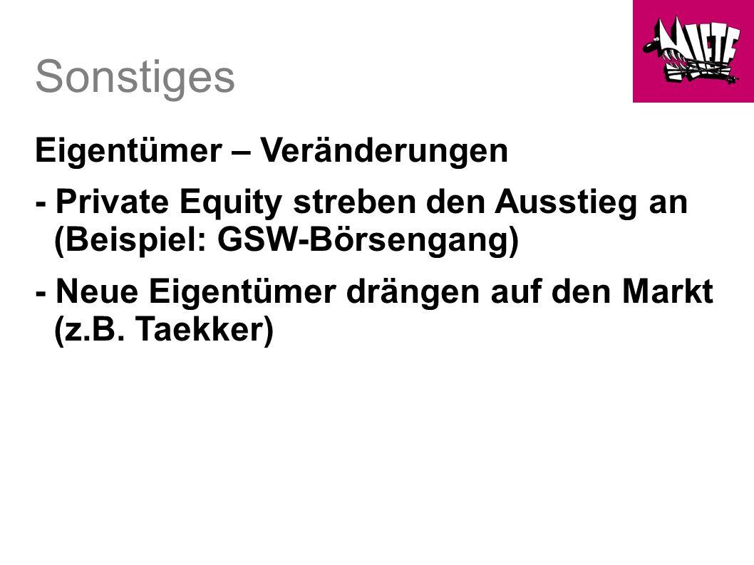 Sonstiges Eigentümer – Veränderungen - Private Equity streben den Ausstieg an (Beispiel: GSW-Börsengang) - Neue Eigentümer drängen auf den Markt (z.B.