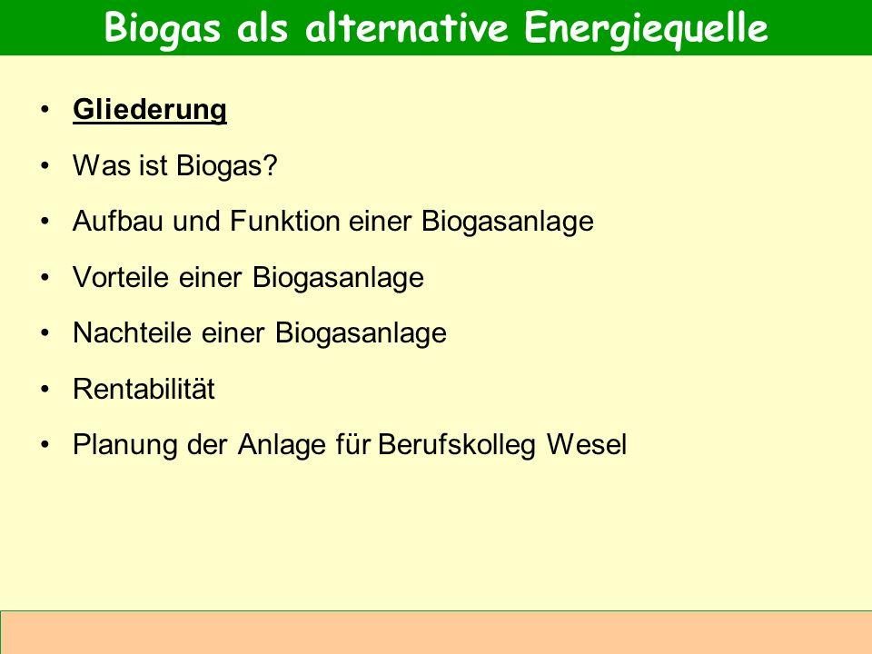 Abteilung Agrarwirtschaft BAL 08L Gliederung Was ist Biogas? Aufbau und Funktion einer Biogasanlage Vorteile einer Biogasanlage Nachteile einer Biogas
