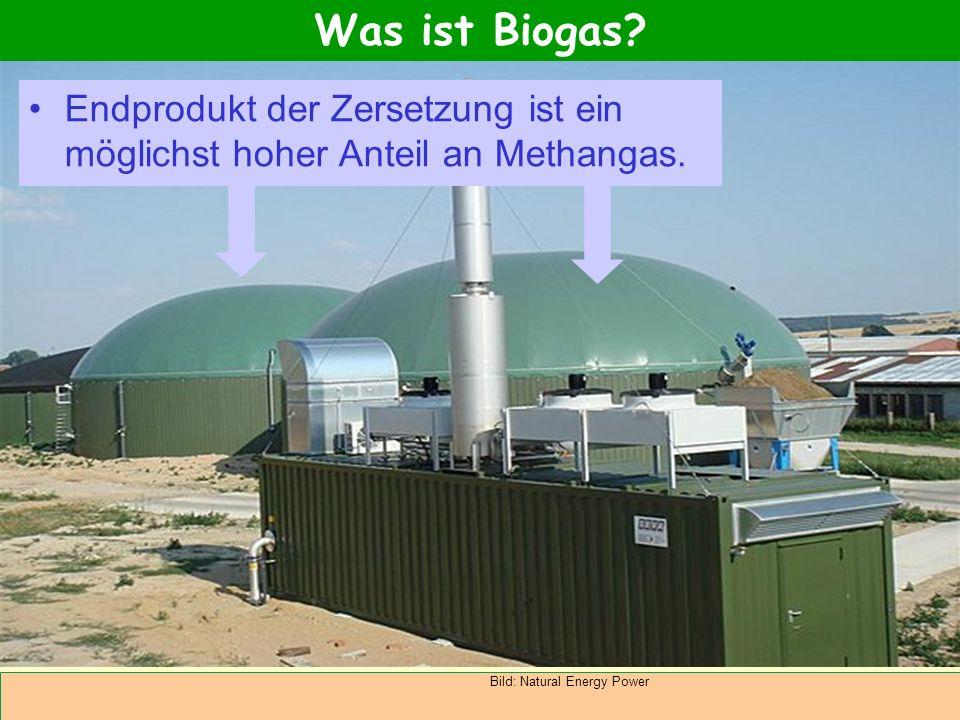Abteilung Agrarwirtschaft BAL 08L Endprodukt der Zersetzung ist ein möglichst hoher Anteil an Methangas. Was ist Biogas? Bild: Natural Energy Power