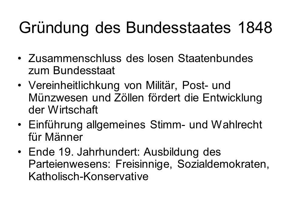 Gründung des Bundesstaates 1848 Zusammenschluss des losen Staatenbundes zum Bundesstaat Vereinheitlichkung von Militär, Post- und Münzwesen und Zöllen