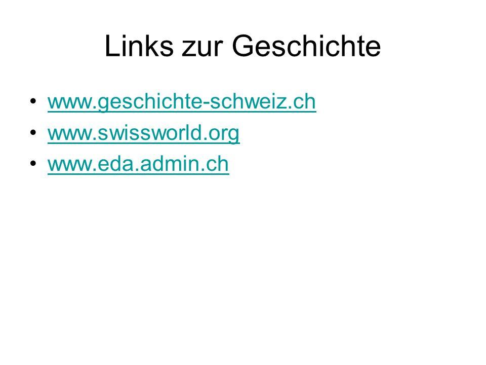 Links zur Geschichte www.geschichte-schweiz.ch www.swissworld.org www.eda.admin.ch