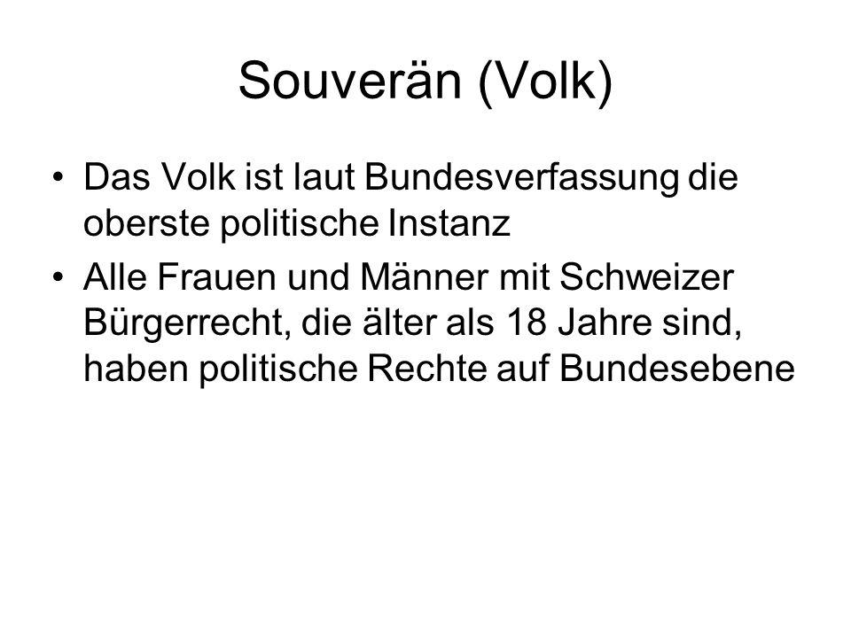 Souverän (Volk) Das Volk ist laut Bundesverfassung die oberste politische Instanz Alle Frauen und Männer mit Schweizer Bürgerrecht, die älter als 18 J