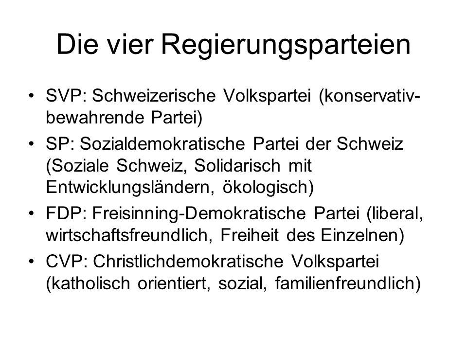 Die vier Regierungsparteien SVP: Schweizerische Volkspartei (konservativ- bewahrende Partei) SP: Sozialdemokratische Partei der Schweiz (Soziale Schwe