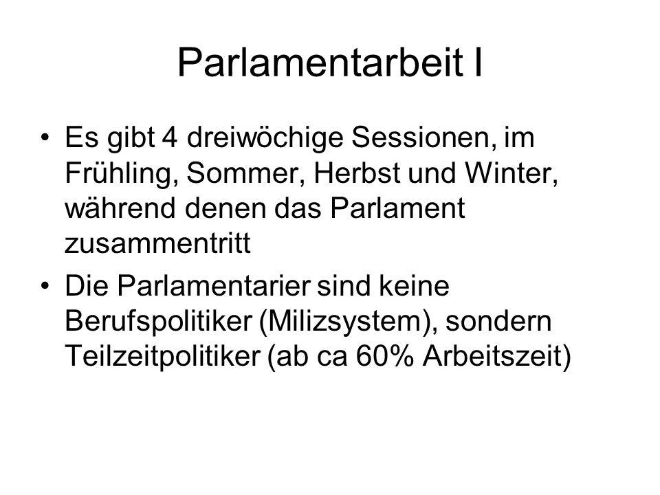 Parlamentarbeit I Es gibt 4 dreiwöchige Sessionen, im Frühling, Sommer, Herbst und Winter, während denen das Parlament zusammentritt Die Parlamentarie