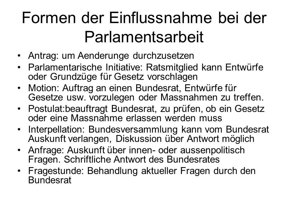 Formen der Einflussnahme bei der Parlamentsarbeit Antrag: um Aenderunge durchzusetzen Parlamentarische Initiative: Ratsmitglied kann Entwürfe oder Gru